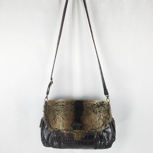 Bueno bag cross body faux croc/fur brown